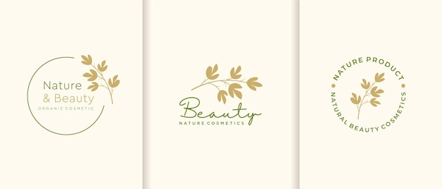 Nature cosmetics logo collection.