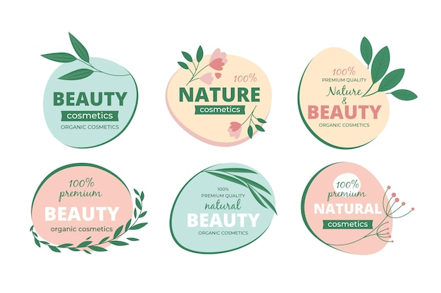 Nature cosmetics logo set