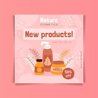 Nature cosmetics new products square flyer