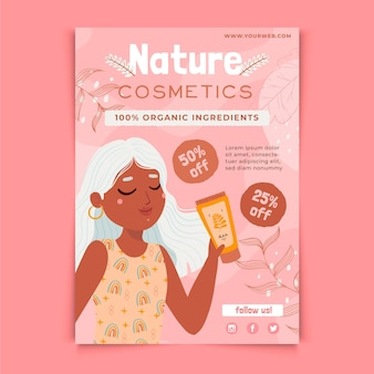 Nature cosmetics with girl flyer template