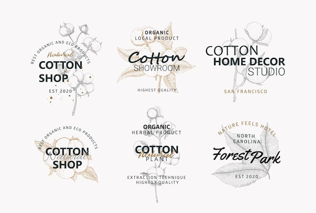 Nature cotton flowers logos collection vector logo for natural eco business flower and decor shop