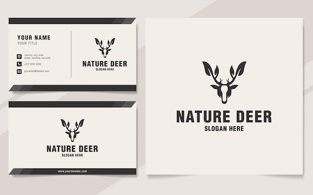 モノグラムスタイルの自然鹿のロゴのテンプレート