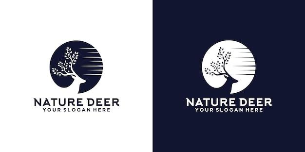 自然の鹿のシルエットのロゴデザインのインスピレーション
