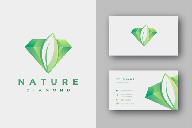 Nature diamond logo and business card template