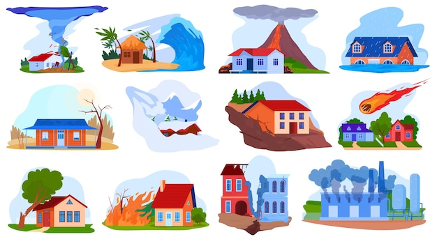Nature disaster accident vector illustration set, cartoon flat natural storm tornado tsunami, volcano, fire destroy