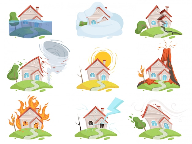 Nature disaster damage set. fire volcano water wind tree destruction tsunami vector cartoon pictures