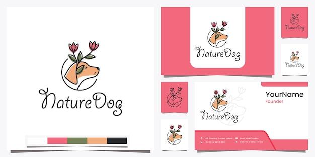 Цветок собаки природы с красивым дизайном логотипа линии искусства вдохновения