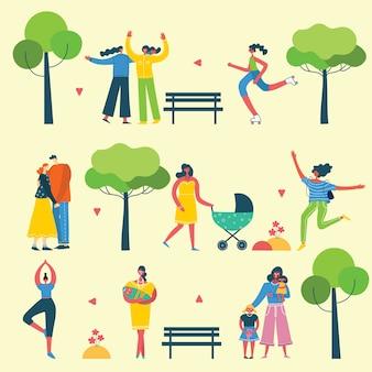 さまざまな人々、活動をしているカップル、歩いている自然のecoの背景、フラットスタイルの森と公園で屋外で休憩
