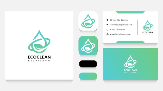 Nature and eco drop logo template and business card