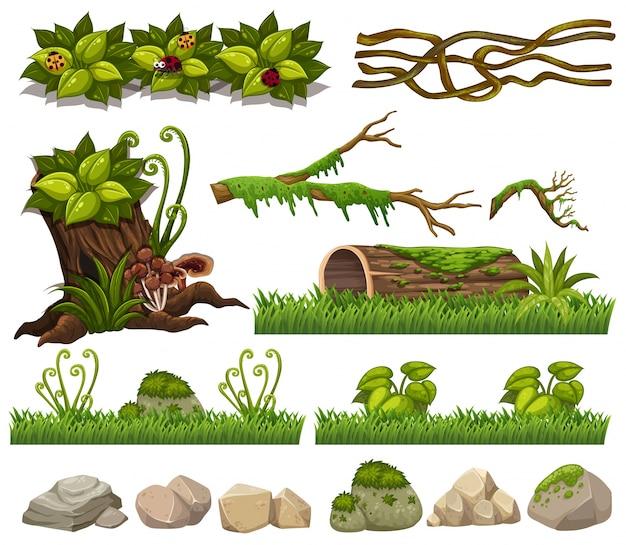 Природные элементы с травой и скалами