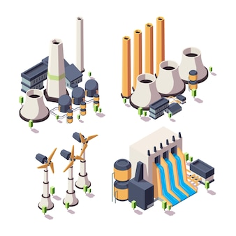 Nature energy factory. powerful ecology geothermal building bio development sources vector isometric collection. power factory ecology, energy alternative illustration