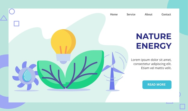 Nature energy light bulb lamp green leaf hydro power f propeller water campaign for web website home homepage landing page