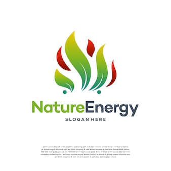 Nature energy logo design concept vector template leaf with fire flame droplet shape