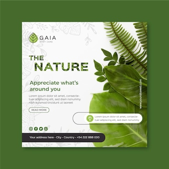 The nature environment square flyer template