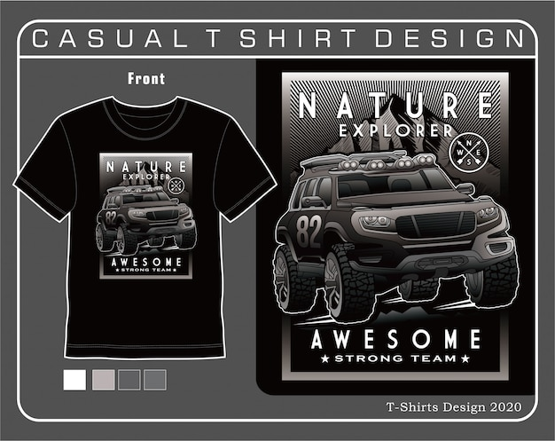 Tシャツの自然探検家素晴らしい、車のタイポグラフィ図