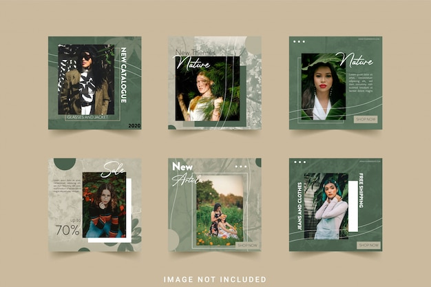 Nature fashion social media instagram template bundle post