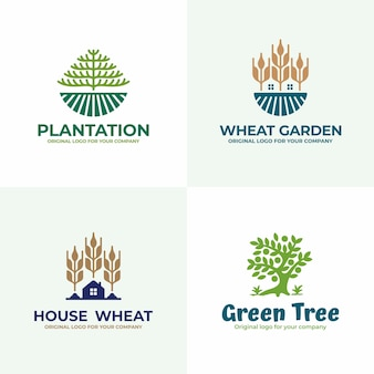 Nature, field,  agriculture logo design collection.