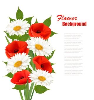 Предпосылка цветка природы с красными маками и белыми маргаритками. вектор.