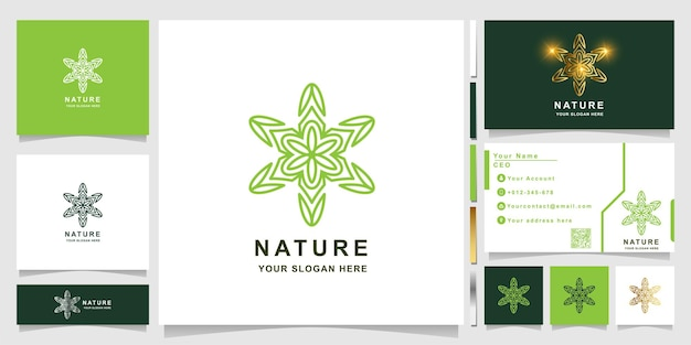 명함 디자인이 있는 자연, 꽃, 부티크 또는 장식 로고 템플릿. 스파, 살롱, 뷰티 또는 부티크 로고 디자인을 사용할 수 있습니다.