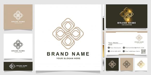 명함 디자인으로 자연, 꽃, 부티크 또는 장식 로고 템플릿. 스파, 살롱, 미용 또는 부티크 로고 디자인을 사용할 수 있습니다.