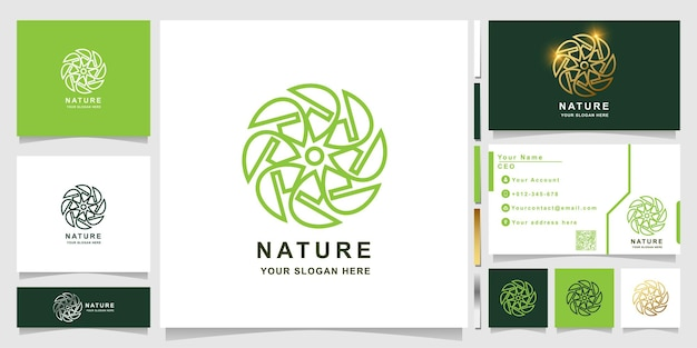 Nature, flower, boutique or ornament logo template with business card design. can be used spa, salon, beauty or boutique logo design.