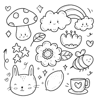Nature flower and cloud icon collection set sticker