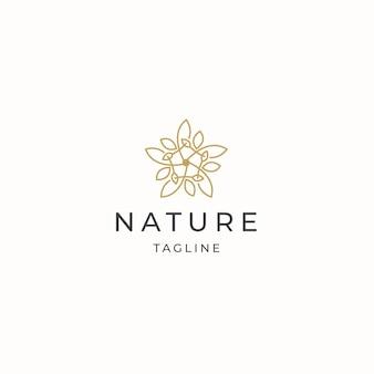 자연 꽃 우아한 럭셔리 골드 컬러 로고 아이콘 디자인 서식 파일 평면 벡터