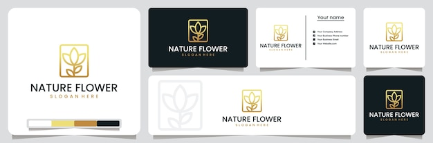 自然の花、サロン、スパ、ロゴデザインのインスピレーション