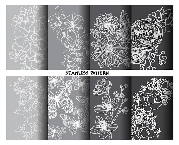 Nature flower seamless patterns hand drawing and sketch