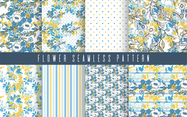 Nature flower small seamless pattern set