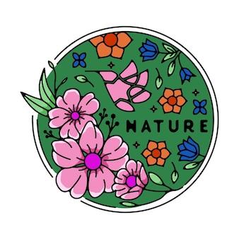 鳥のモノラインバッジと自然の花