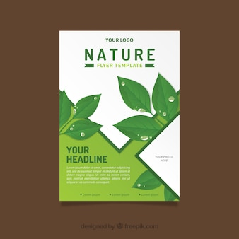 Nature flyer template with flat leaves