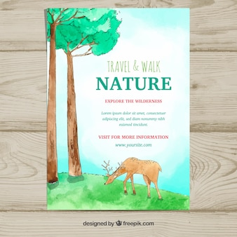 Nature flyer template with watercolor animal
