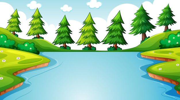 긴 강이 초원을 통해 흐르는 낮 장면에서 자연 숲 풍경