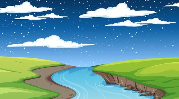 긴 강이 초원을 통해 흐르는 밤 장면에서 자연 숲 풍경