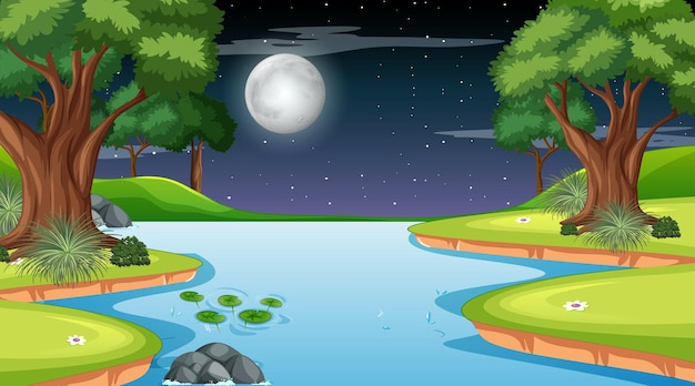 Nature forest landscape at night scene with long river flowing through the meadow