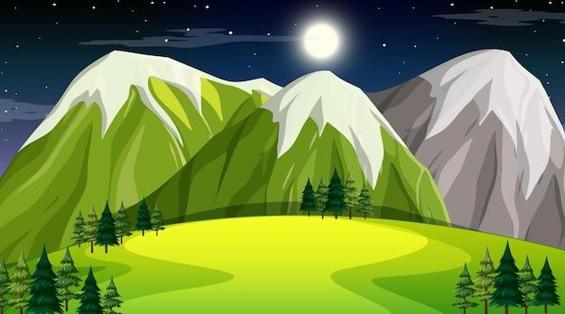 Nature forest landscape at night scene