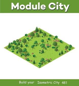 게임 디자인을 위한 녹색 나무, 잔디, 돌이 있는 아이소메트릭 그림의 자연 숲 풍경.