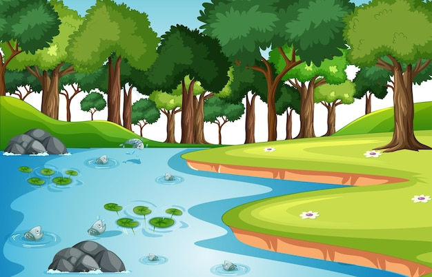 Nature forest landscape scene with many fishes in the stream