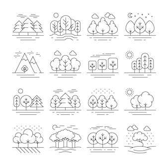 Nature forest landscape thin line icons. tree plant and mountain