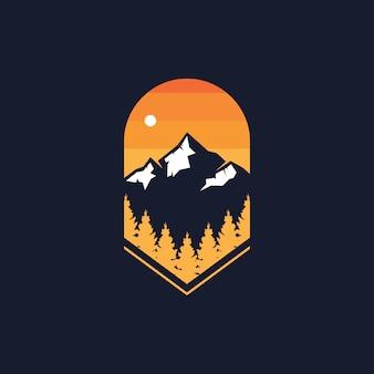 Nature forest & mountain badge logo design   illustration