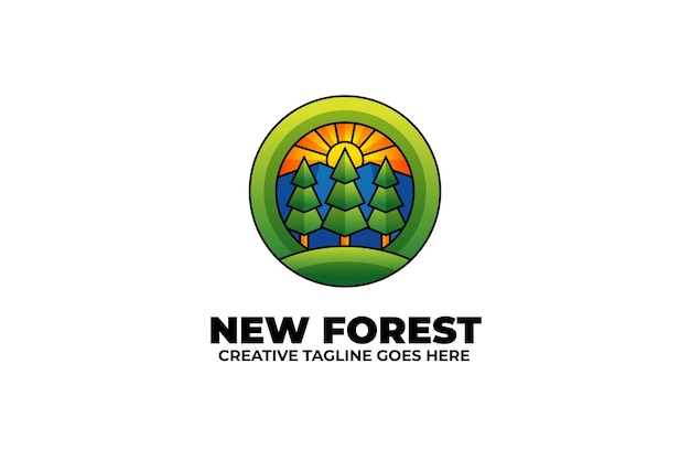 自然の森アウトドアキャンプカラフルなロゴ
