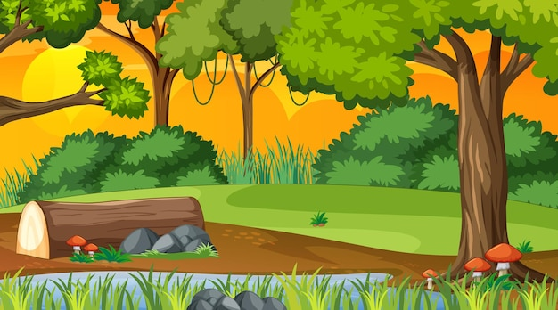 Nature forest at sunset time scene Free Vector