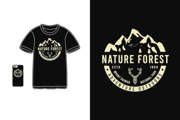 자연 숲, 티셔츠 상품 실루엣 모형 타이포그래피