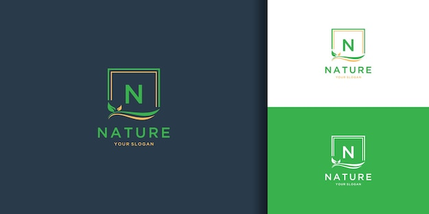 Nature frame logo with initial letter n design