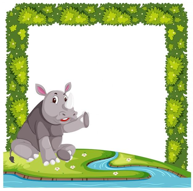 A nature frame and rhino