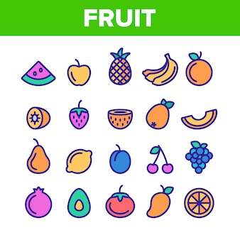 Nature fruit elements icons set