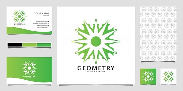 Дизайн логотипа геометрии природы, узор и визитная карточка