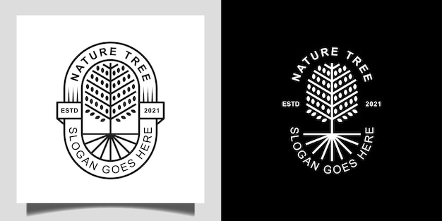 Nature golden branched tree of life with line art style badge logo design for decoration, garden forest