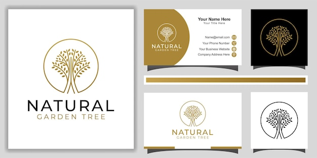 Nature golden branched tree of life with line art style logo design for decoration, garden forest with business card